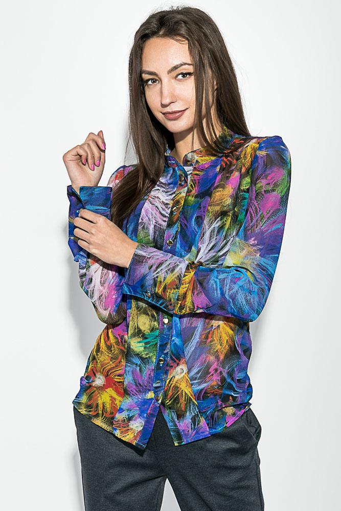 Купить Блузка женская принтованная, легкая 64PD208, Time of Style, Желто-зеленый, розы, Сине-желтый