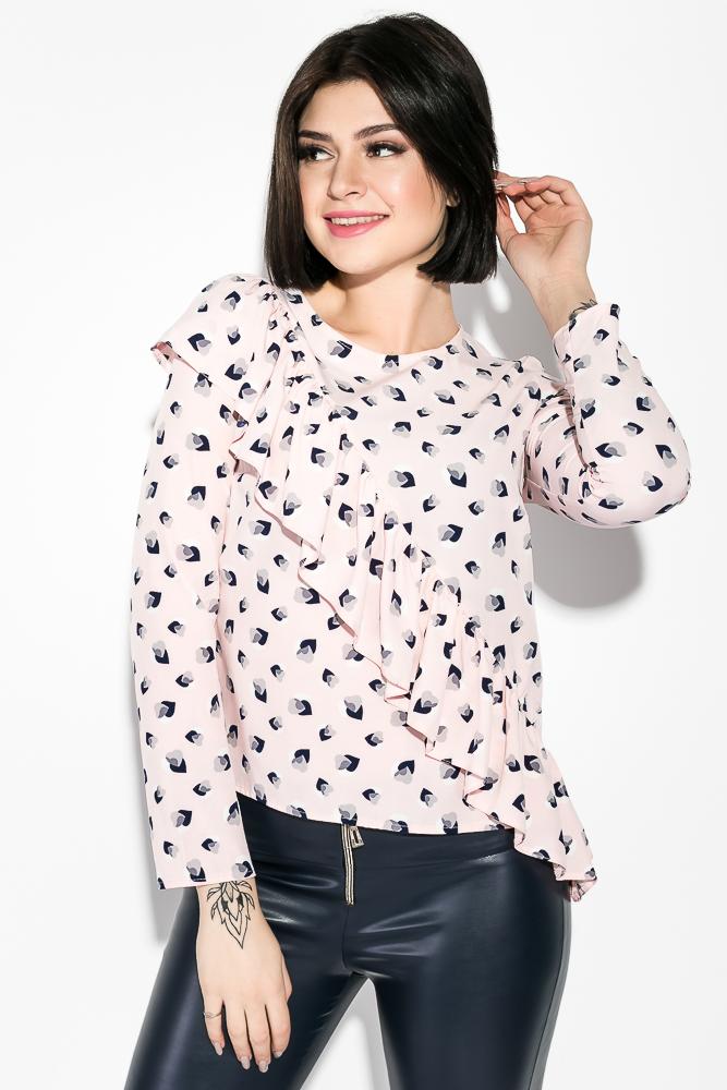 Купить Блузка женская с принтом 83P1373-1, Time of Style, Розово-синий