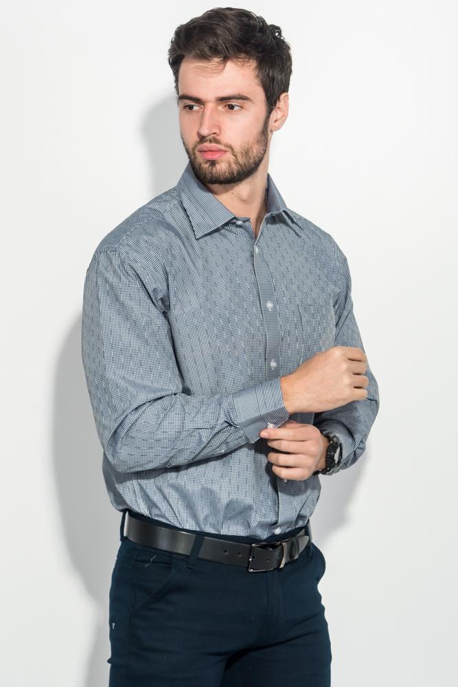 Купить Рубашка мужская в клетку 50PD2113-2, Time of Style, Черно-белый