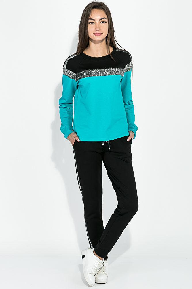 Купить Костюм спортивный женский, с люрексом 70PD5030, Time of Style, Черно-розовый, Черно-лазурный