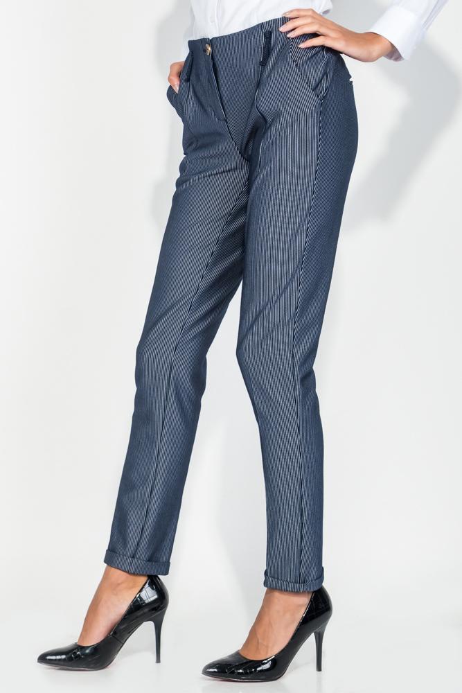 Купить Брюки женские зауженные, с подворотами 64PD48, Time of Style, Темно-синий елочка, Темно-синий полоска, Черный, жаккард, Черно-серый.точка, Сине-коричневый, клетка, Сине-черная клетка, Серо-бордовая клетка, Синий джинс, Темно-серый, елочка, Серо-черный лапка