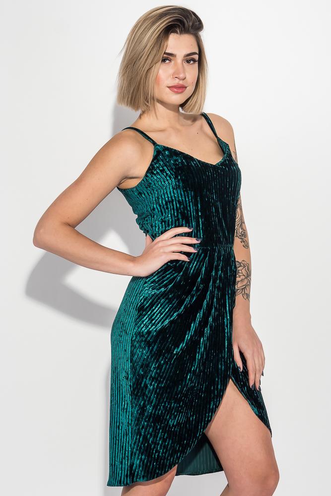 Купить Платье женское на тонких бретелях, элегантное 69PD982, Time of Style, Изумрудный, Серо-голубой, Темно-синий