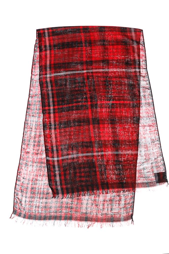 Купить Палантин женский принт клетка 73PD018, Time of Style, Красно-черный, клетка, Крем-коричневый, Пепельно-серый, Серо-красный, Сине-горчичный