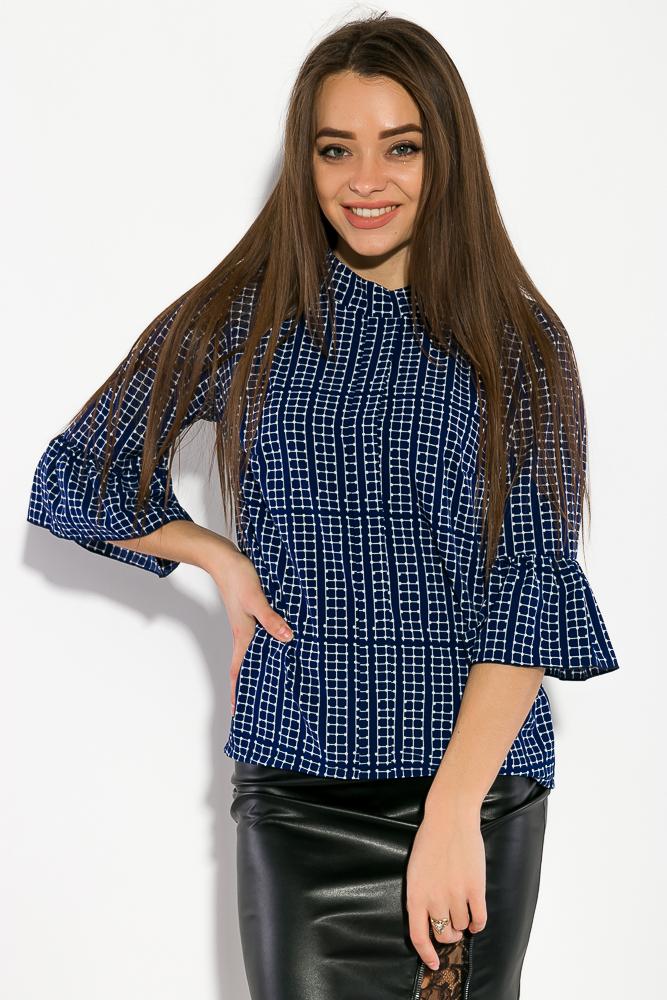 Купить Блузка женская, принтованная 87PV184, Time of Style, Бежевый принт, Молочный принт, Синий принт