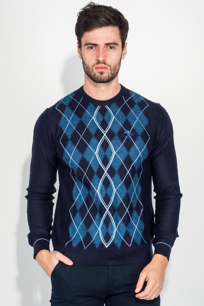 Купить Джемпер мужской с принтом 50PD487, Time of Style, Темно-синий