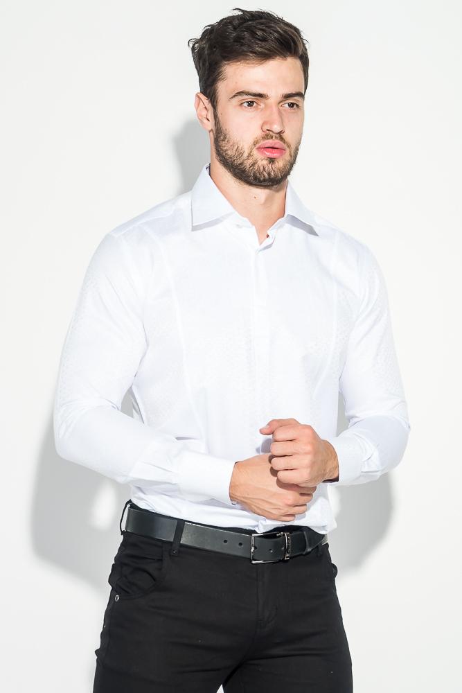 Купить Рубашка мужская в светлом оттенке, с фактурным принтом 50PD61303, Time of Style, Белый