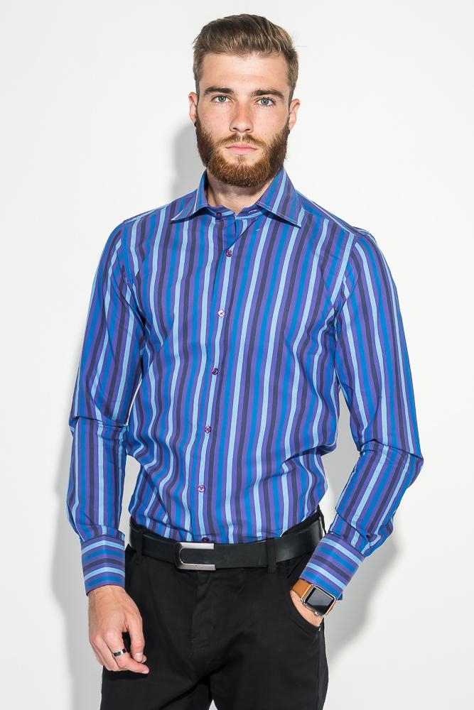 Купить Рубашка мужская приталенная, в полоску 50PD28805, Time of Style, Сине-голубой, Сине-салатовый, Сиренево-голубой, Желто-синий, Бело-синий, Красно-синий