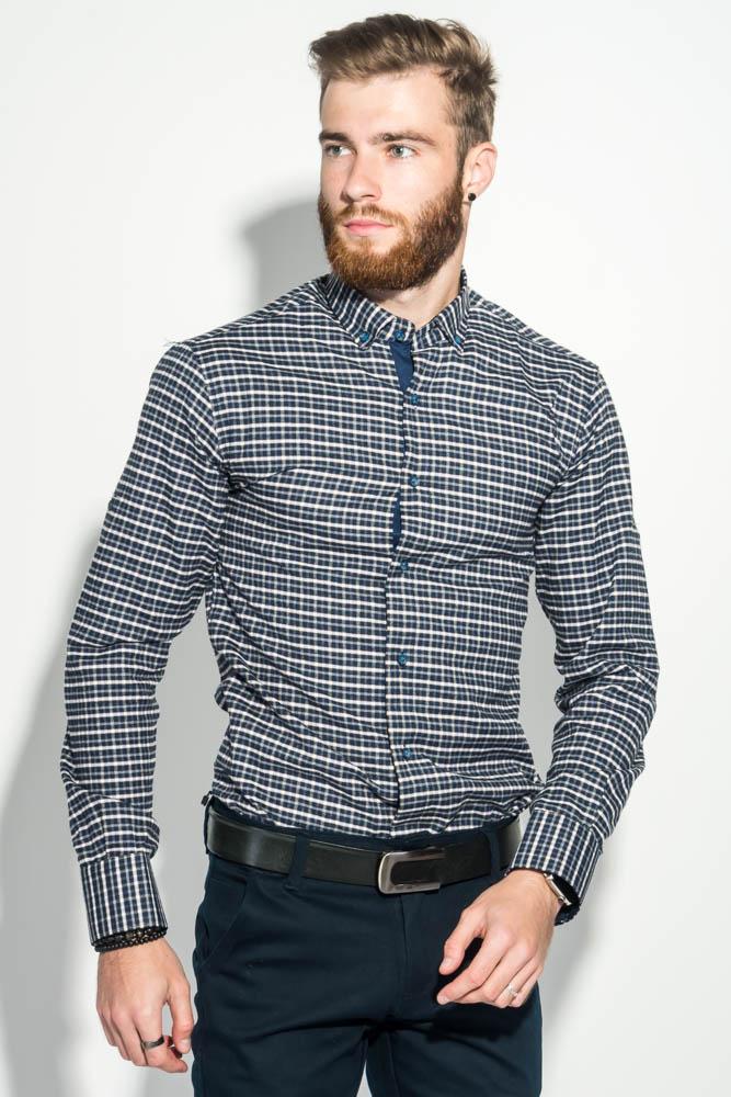 Купить Рубашка мужская теплая, в клетку 50PD0041-5, Time of Style, Сине-бежевый