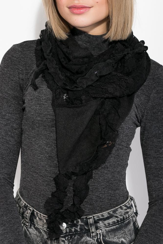 Купить Шарф женский с кружевом 73PD0034, Time of Style, Молочно-белый, Черный