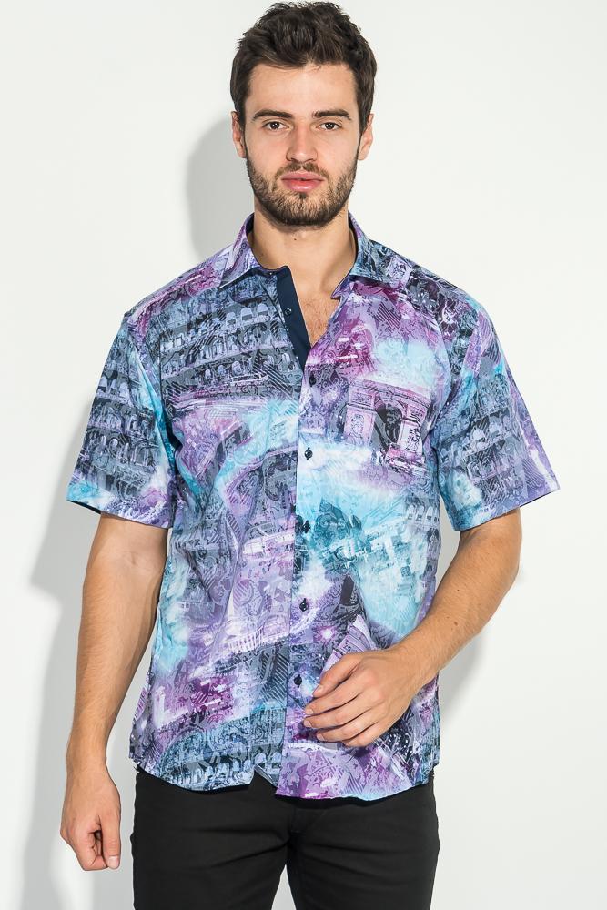 Купить Рубашка мужская со стилизированным принтом 50P2339, Time of Style, Фиолетовый