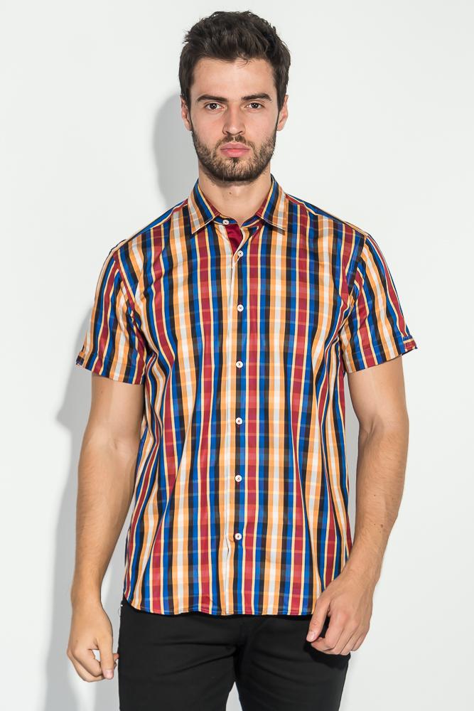 Купить Рубашка мужская в клетку 50P010, Time of Style, Красно-оранжевый