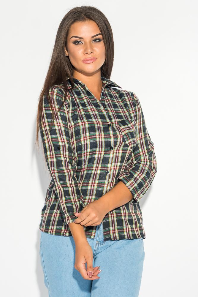 Купить Рубашка женская в темную клетку 52P002-2, Time of Style, Чернильно-зеленый