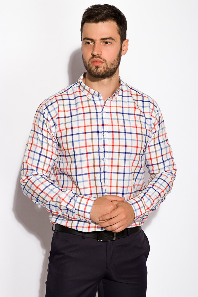 Купить Мужские рубашки, Рубашка 511F047, Time of Style, Красно-синий, Серо-бежевый, Сиренево-зеленый