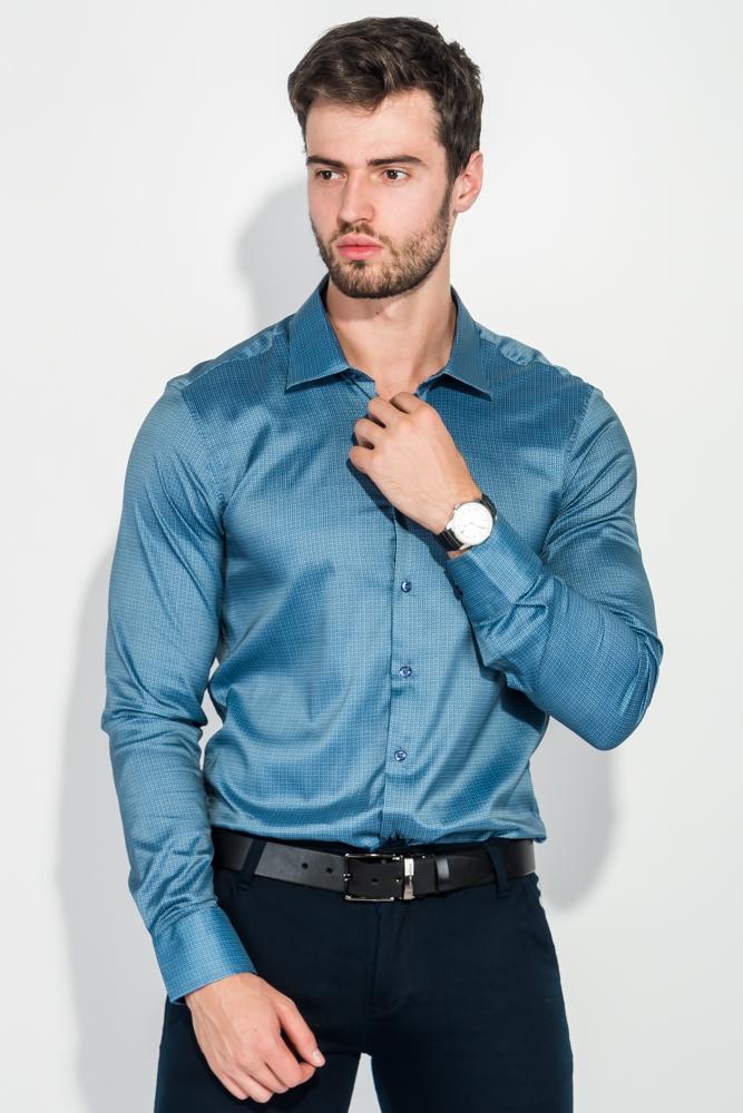 Купить Рубашка мужская легкая, с принтом 50PD6225, Time of Style, Морская волна, Сине-голубой, Сине-красный
