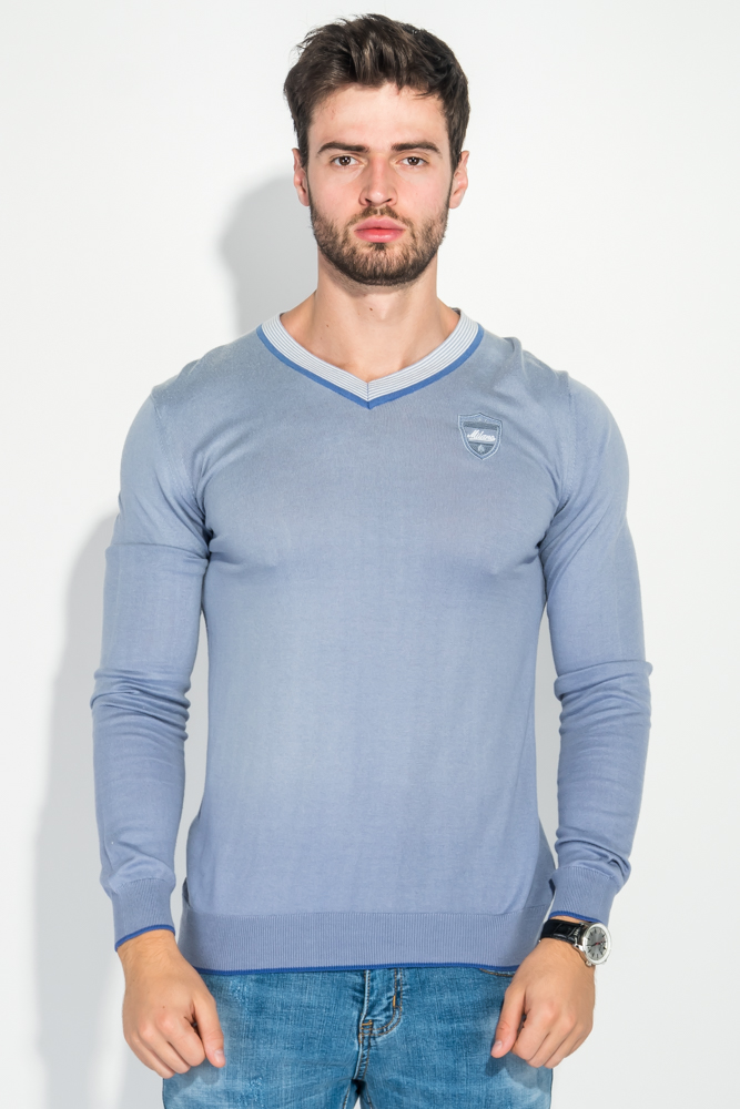 Купить Пуловер мужской с полоской по ободку выреза 50PD301, Time of Style, Серо-сиреневый, Бело-голубой, Бело-сиреневый, Темно-синий/красный, Черно-белый, Голубой-синий