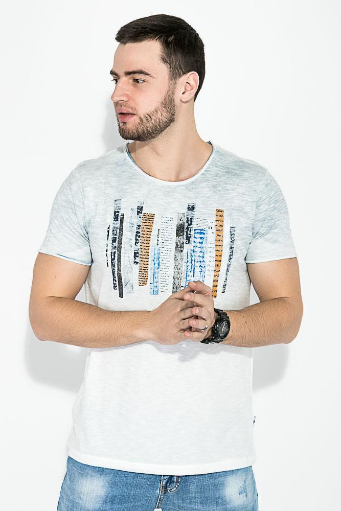 Купить Мужские футболки, Футболка мужская принтованная 81P1510, Time of Style, Салатовый, Серый, Голубой, Желтый