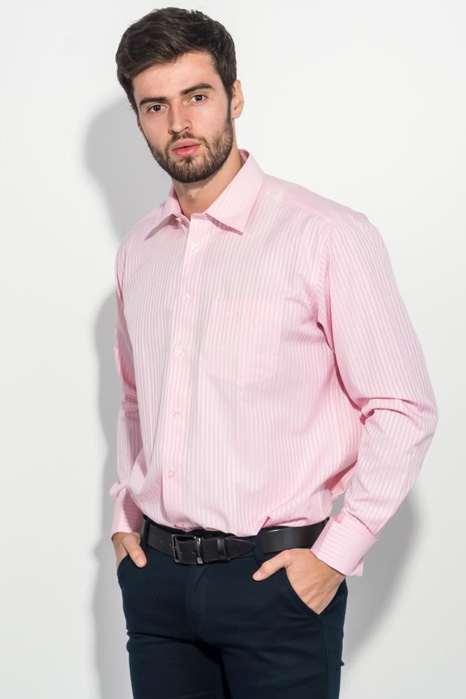 Купить Рубашка мужская в полоску 50PD01854-9, Time of Style, Розовый