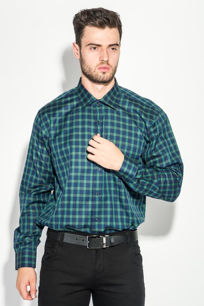 Купить Рубашка мужская двухцветная клетка 50PD0055, Time of Style, Сине-зеленый, клетка