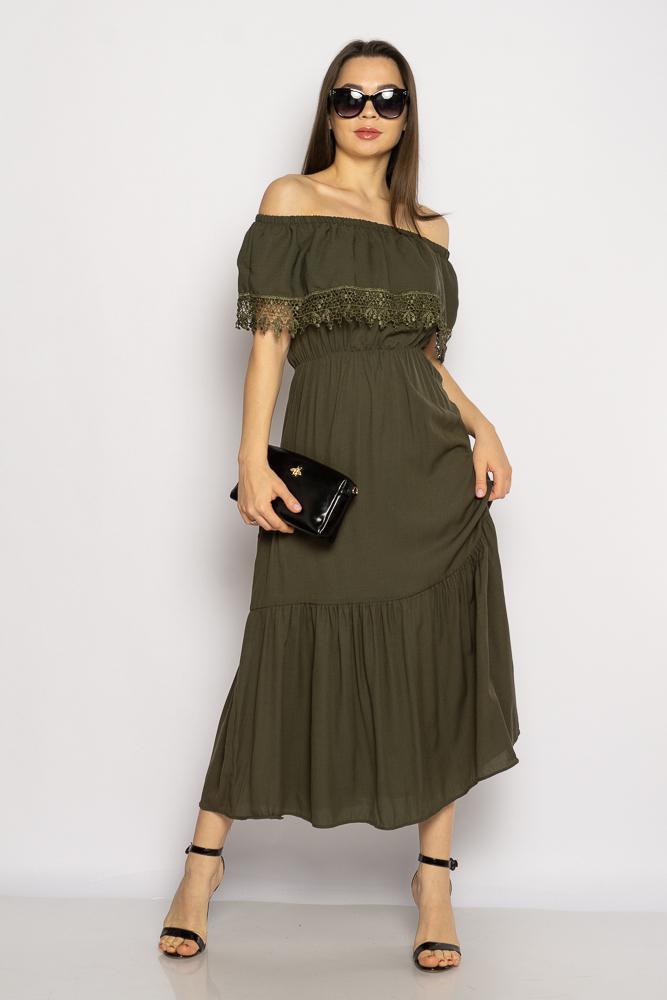 Акция на Однотонное платье со спущенными рукавами 632F014 от Time Of Style - 3
