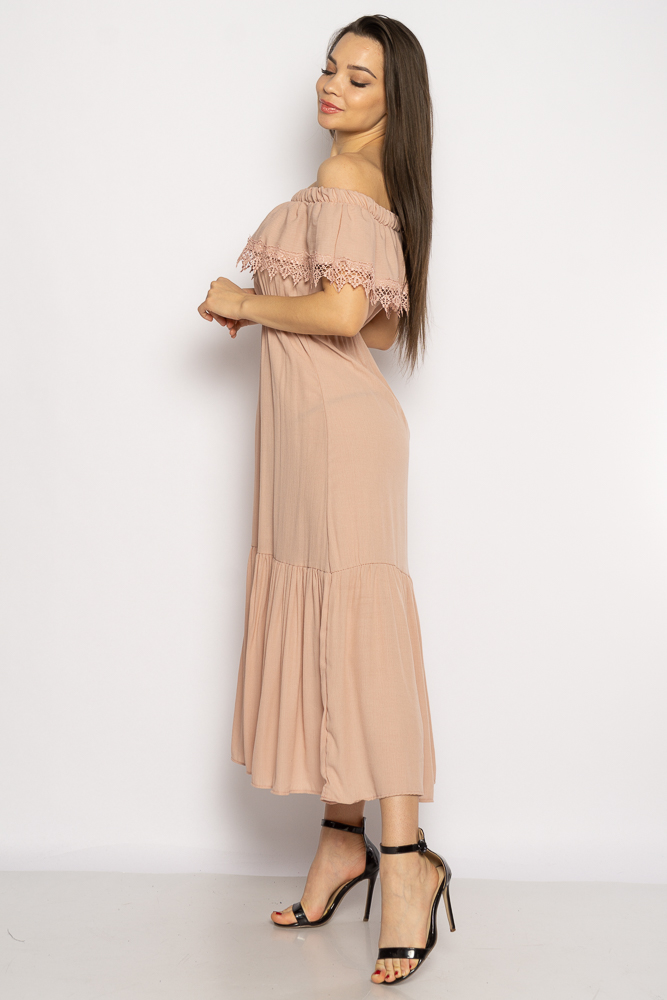 Акция на Однотонное платье со спущенными рукавами 632F014 от Time Of Style - 14