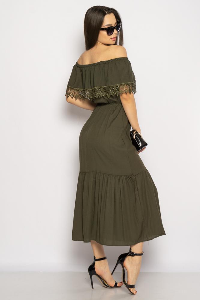 Акция на Однотонное платье со спущенными рукавами 632F014 от Time Of Style - 5