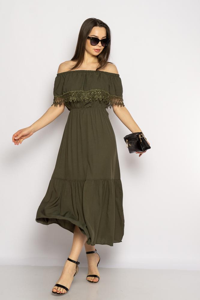 Акция на Однотонное платье со спущенными рукавами 632F014 от Time Of Style - 2