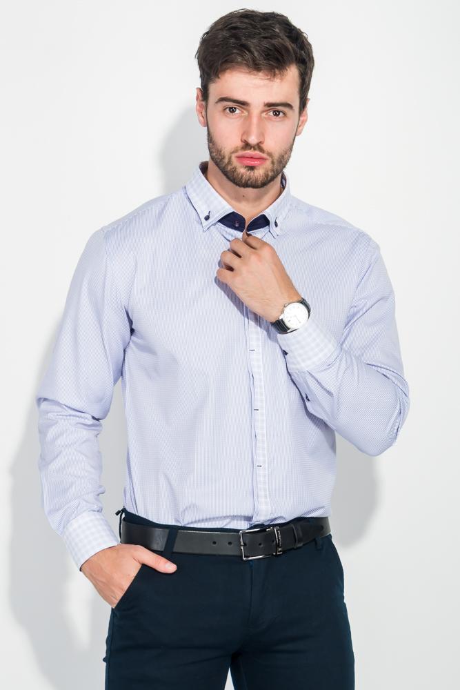 Купить Рубашка мужская воротник и планка в клетку 50PD3144, Time of Style, Бело-сиреневый, Черно-белый, Капучино, Серо-голубой