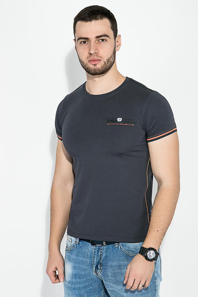Купить Мужские футболки, Футболка мужская, круглый вырез 81P0230, Time of Style, Темно-серый, Электрик