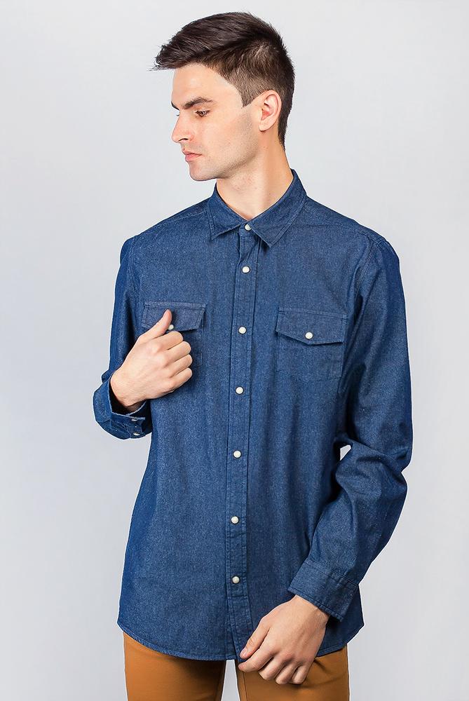 Купить Рубашка синяя джинсовая 641K007-1, Time of Style, Синий