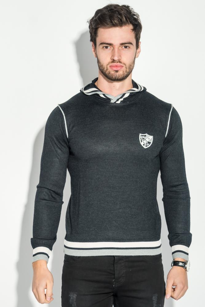 Купить Худи мужское трикотажное, с лого 50PD479-K, Time of Style, Черно-сиреневый, Чернильно-синий, Чернильно-серый, Грифельно-белый, Кремовый меланж, Светло-серый меланж