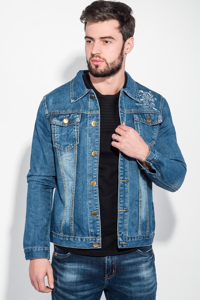 Купить Куртка мужская джинс с принтом на спине 251V001, Time of Style, Светло-синий