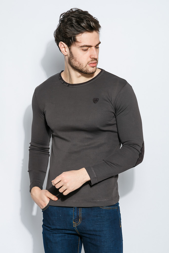 Купить Пуловер мужской с локотками 415F010, Time of Style, Черный, Грифельный, Синий, Темно-синий, Зеленый, Голубой, Бордо, Коричневый, Светло-серый
