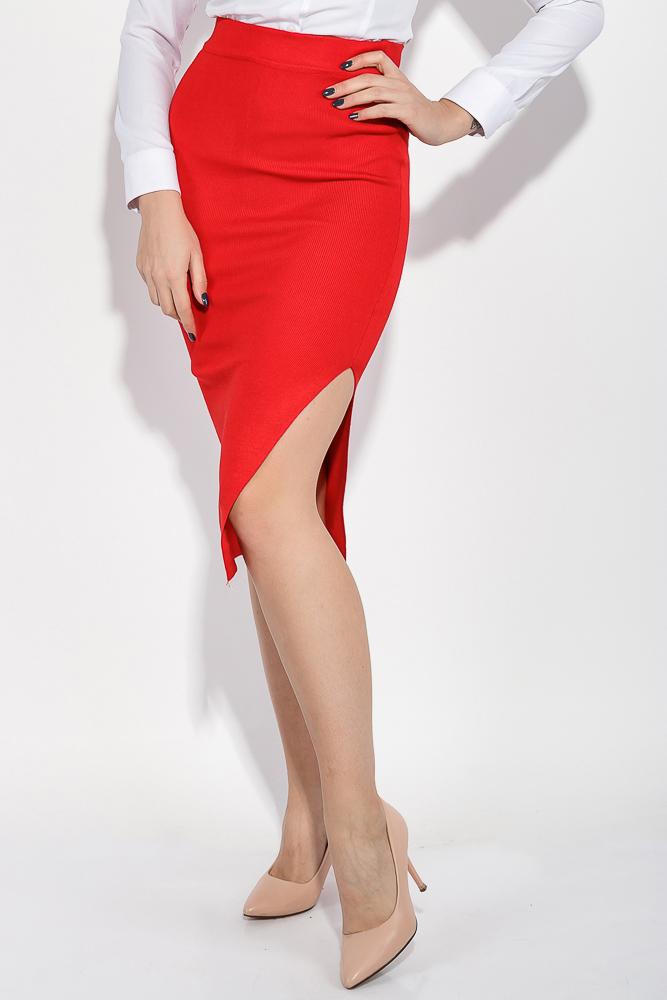 Купить Юбка женская однотонная, с боковым разрезом 446K004, Time of Style, Красный, Серый, Темно-синий, Электрик