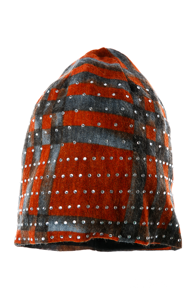 Купить Шапка женская осенне-весенняя 65PF01-01, Time of Style, Серо-кирпичный, Серо-коричневый, Хаки-бирюза
