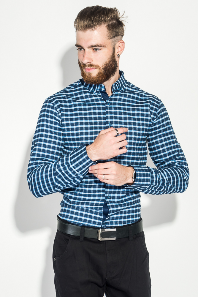 Купить Рубашка мужская в клетку 50PD0041-1, Time of Style, Сине-голубая, Клетка
