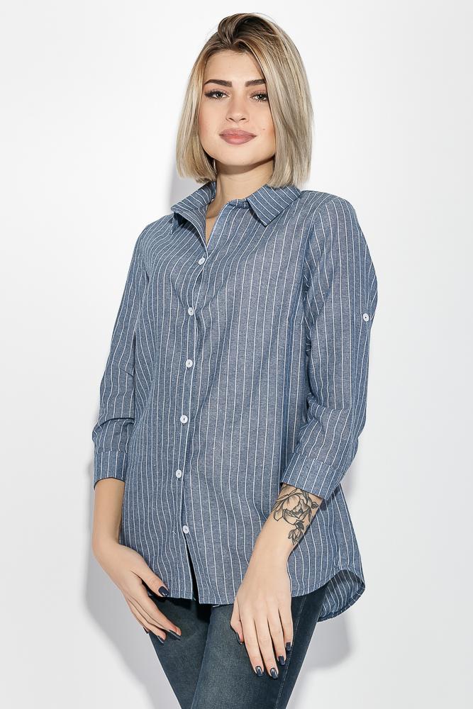 Купить Блузка женская в вертикальную полоску 64PD2901, Time of Style, Серо-белый, Джинс-белый, Беж-белый