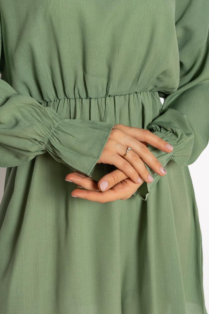 Акция на Однотонное платье с длинными рукавами 632F004-3 от Time Of Style - 29