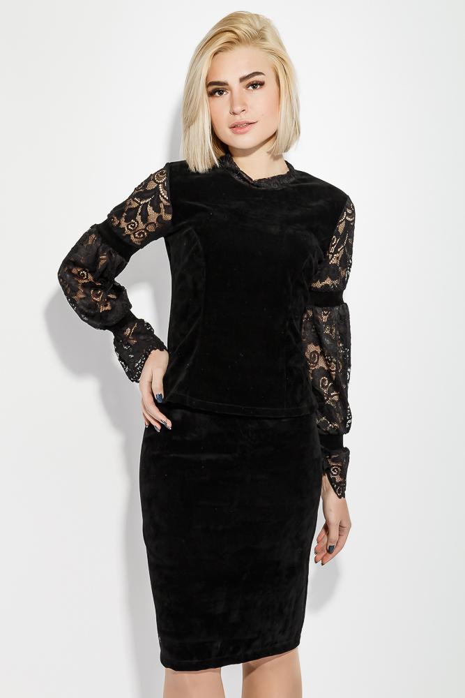 Купить Костюм женский с кружевом (юбка, блузка) 78PD5049, Time of Style, Черный