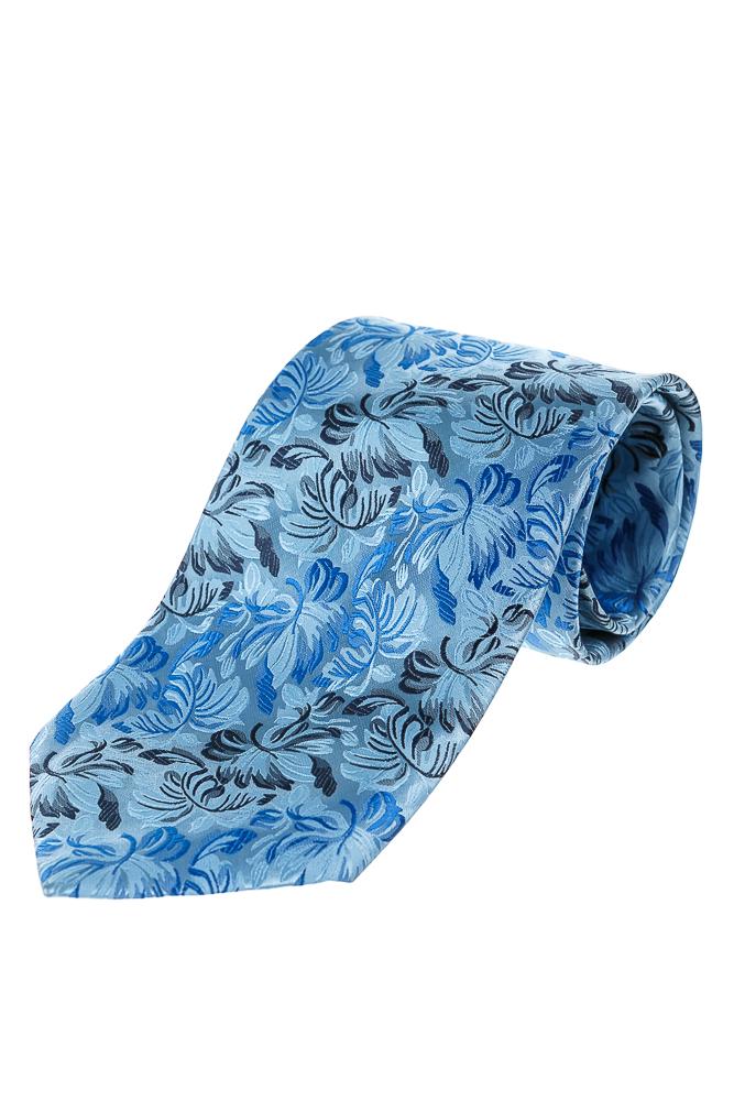 Купить Галстук мужской с цветочным принтом 50PA0002, Time of Style, Сине-голубой, Коричнево-бежевый