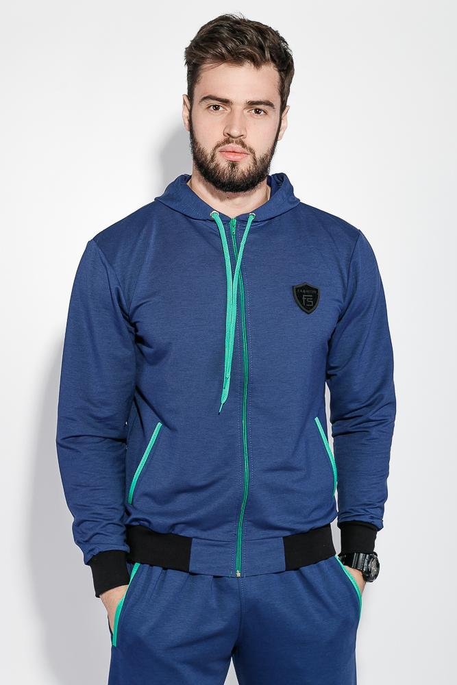 Купить Костюм мужской спорт однотонный с вертикальным принтом 76PD1121, Time of Style, Серый джинс, Синий джинс, Черный