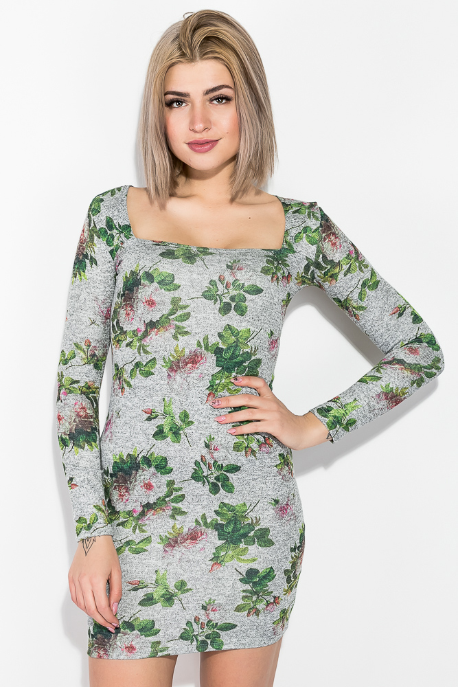 Купить Платье облегающее с цветочным принтом 70P023-1, Time of Style, Серый меланж, Синий меланж