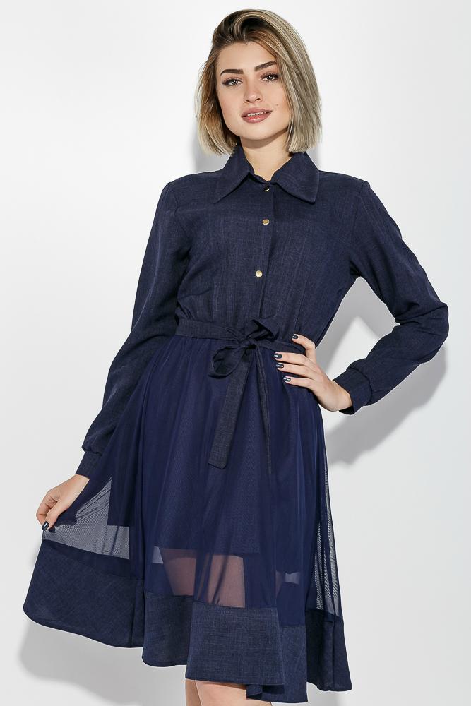 Купить Платье женское юбка-солнце, нарядное 74PD385, Time of Style, Кремовый меланж, Темно-синий меланж
