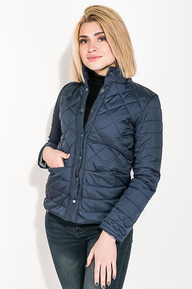Купить Куртка женская стеганая на кнопках 80PD1209, Time of Style, Лазурный, Ментол, Бордо, Ярко-голубой, Ультрафиолет, Темно-зеленый, Черный, Темно-синий, Розовый