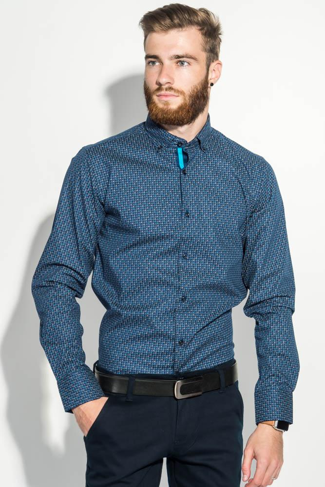 Купить Рубашка мужская в клетку 50PD7275, Time of Style, Темно-синий, Голубой, Белый
