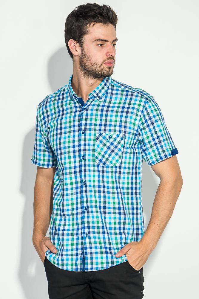 Купить Рубашка мужская принт мелкая клетка 50P7078-1, Time of Style, Красно-синий, Зелено-синий, Бежево-синий