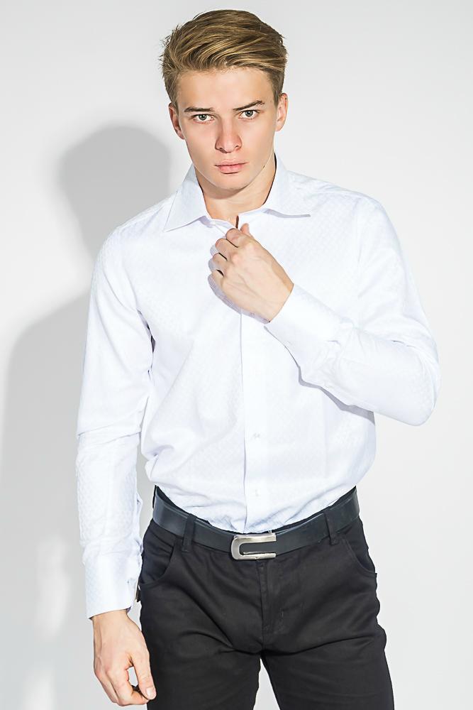 Купить Рубашка мужская однотонная, с фактурным принтом 50PD51102, Time of Style, Белый