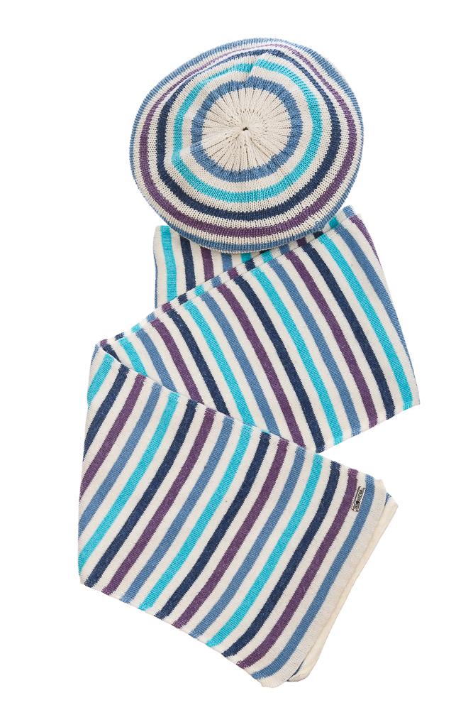 Купить Комплект женский шапка, шарф в полоску 65PF3225, Time of Style, Молочно-синий