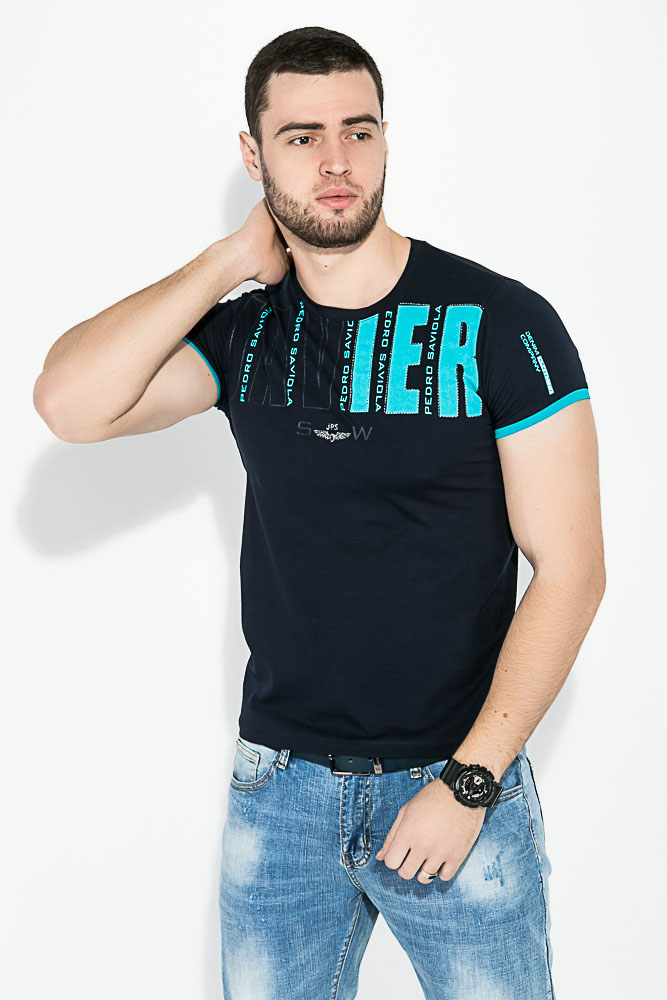 Купить Мужские футболки, Футболка мужская с надписью на груди 81P0100, Time of Style, Темно-синий, Темно-серый, Черный, Электрик
