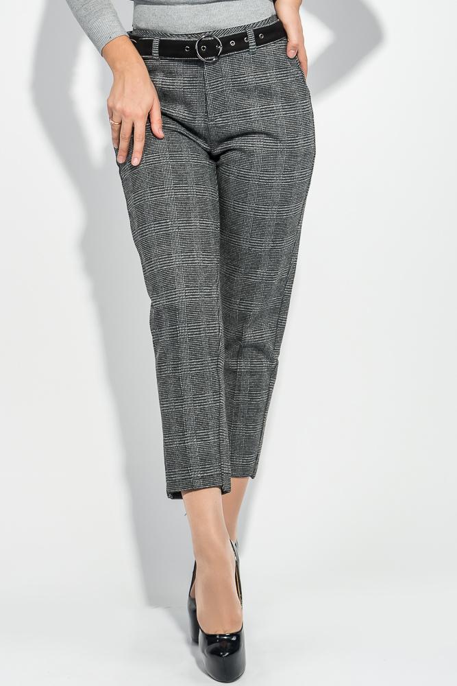 Купить Брюки женские карман-обманка, с контрастным поясом 314V001, Time of Style, Темно-серый, Серый