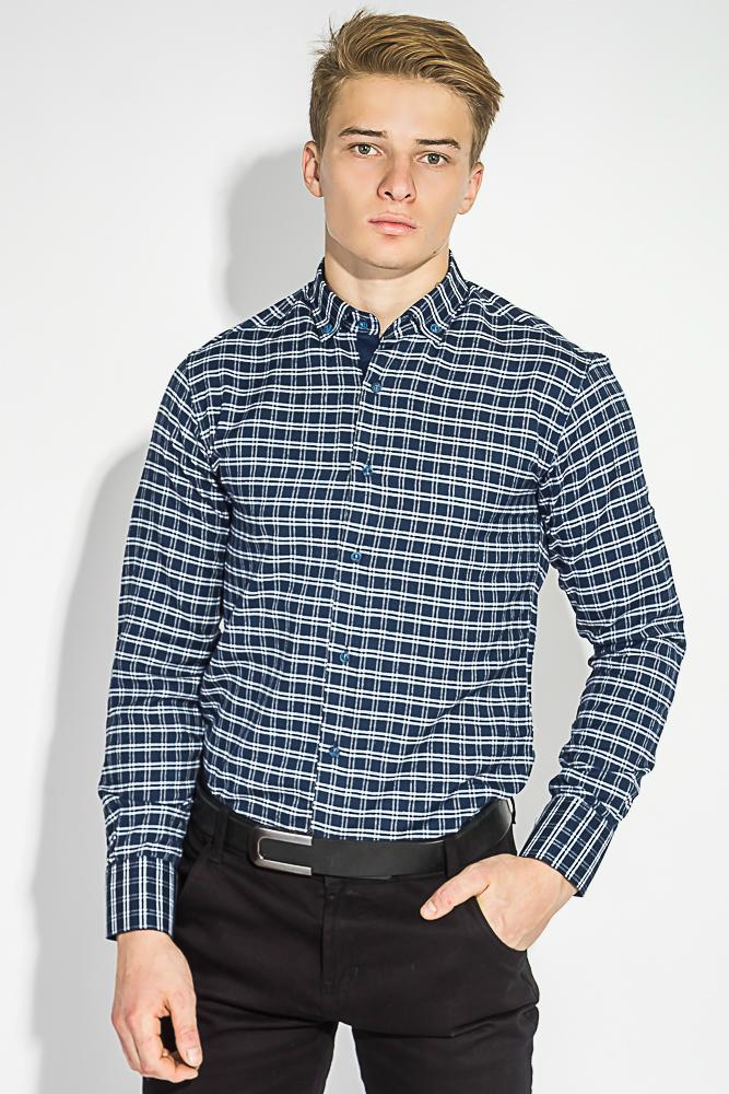 Купить Рубашка мужская теплая, в клетку 50PD0041-4, Time of Style, Сине-белый, Коричнево-белый
